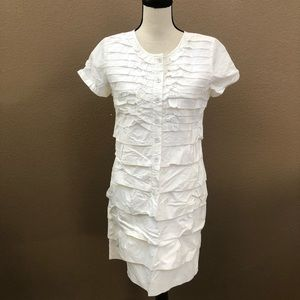 Jcrew White cotton ruffle tier dress Sz 8